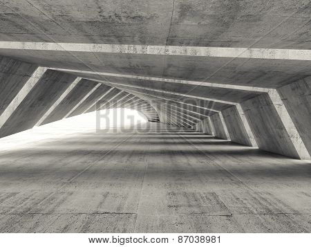 Abstract Empty Illuminated Bent Concrete Corridor