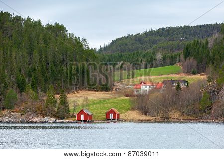 Norwegian Small Village, Colorful Wooden Houses