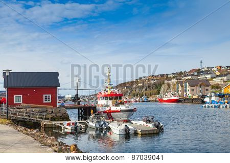 Small Norwegian Village Landscape, Moored Boats