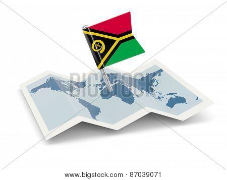 Map With Flag Of Vanuatu