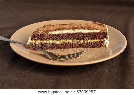 Chocolate sponge cake with lemon cream