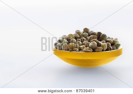 Hemp Seeds In A Gilded Bowl