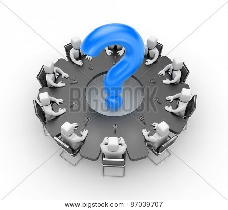 The table of the meeting in the form of a gear which sit businessmen. In the middle of the table is a blue question mark. Illustration on a white background.