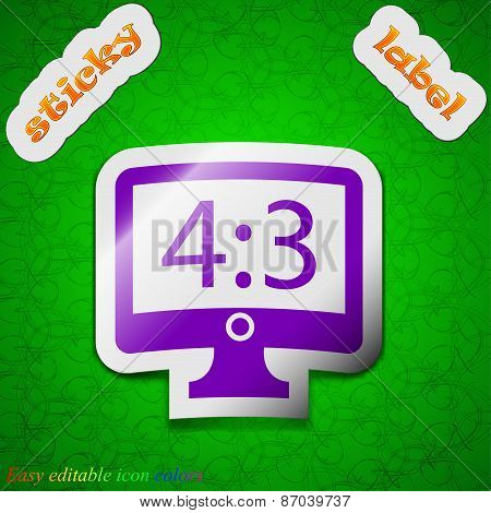 Aspect Ratio 4 3 Widescreen Tv Icon Sign. Symbol Chic Colored Sticky Label On Green Background. Vect