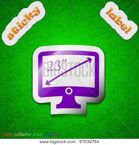 Diagonal Of The Monitor 23 Inches Icon Sign. Symbol Chic Colored Sticky Label On Green Background. V