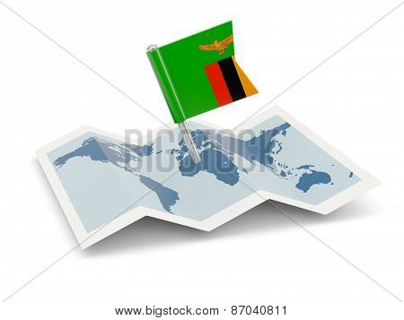 Map With Flag Of Zambia