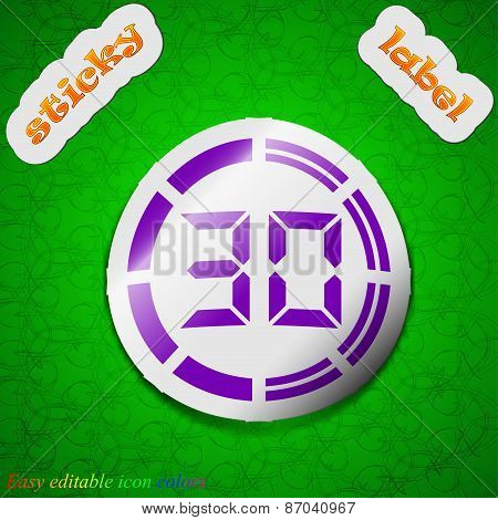 30 Second Stopwatch Icon Sign. Symbol Chic Colored Sticky Label On Green Background. Vector