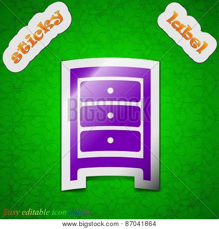 Nightstand Icon Sign. Symbol Chic Colored Sticky Label On Green Background. Vector