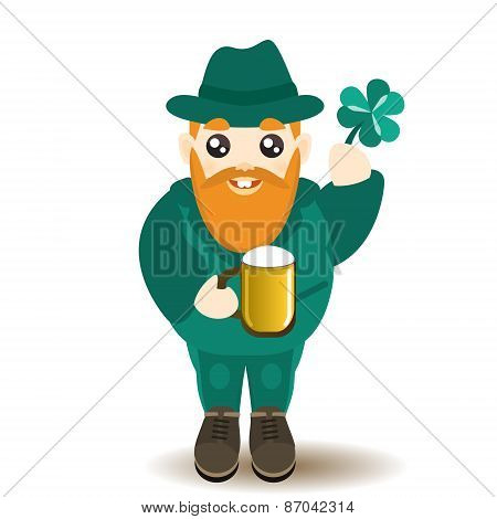 Bearded gnome with beer and shamrock