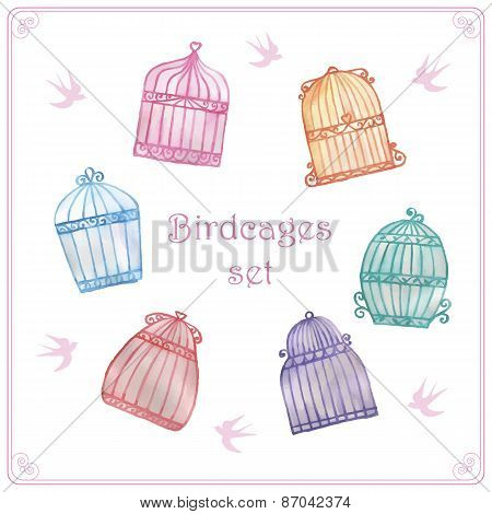 Watercolor birdcages set
