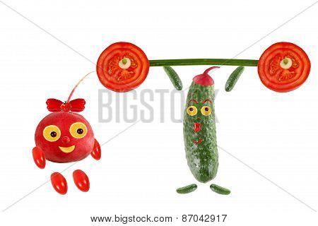 Healthy Eating. Little Funny People Made Of Vegetables And Fruits.