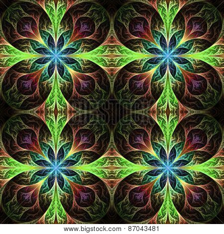 Pattern From Fractal Flowes In  Brown, Blue And Green. Computer Generated Graphics.