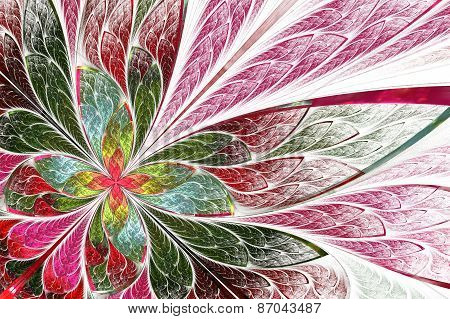 Fractal Flower Or Butterfly On White Background. Computer Generated Graphics.