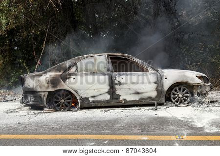 Chiang Mai, Thailand - January 1 : Car Fire Due To A Gas Explosion. While Driving Up To The Hill. Th
