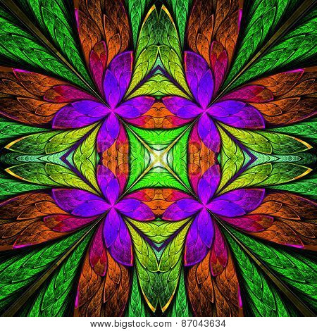 Symmetrical Flower Pattern In Stained-glass Window Style On Black. Green, Purple And  Brown Palette.