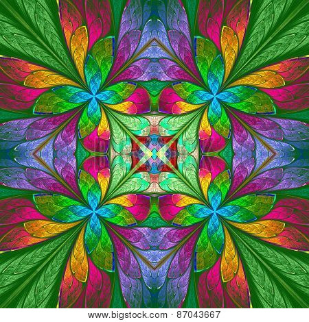 Symmetrical Multicolored Flower Pattern In Stained-glass Window Style On Green Backgrownd.  Computer