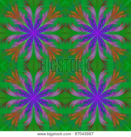 Beautiful Pattern From Fractal Flowers. Blue And Green Palette. Collection - Frosty Pattern.
