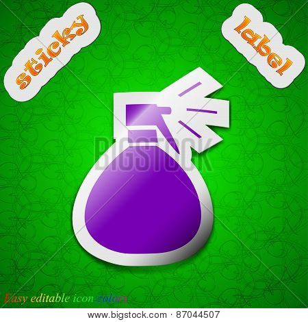 Plastic Spray Of Water Icon Sign. Symbol Chic Colored Sticky Label On Green Background. Vector