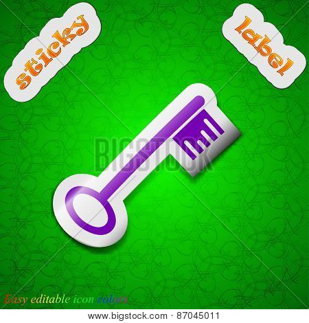 Key Icon Sign. Symbol Chic Colored Sticky Label On Green Background. Vector