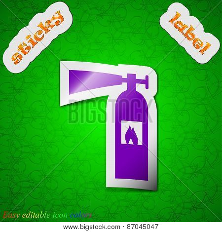 Fire Extinguisher Icon Sign. Symbol Chic Colored Sticky Label On Green Background. Vector