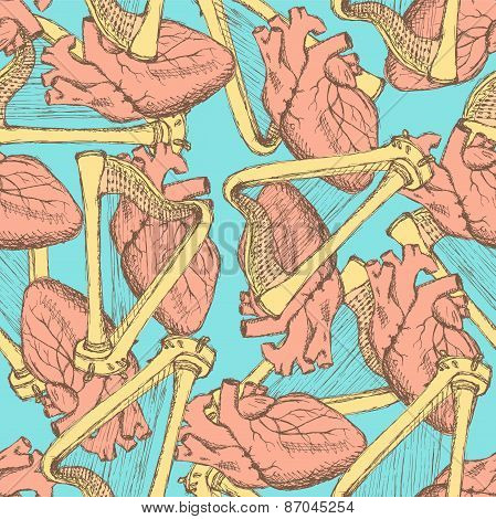 Sketch Heart And Harp In Vintage Style