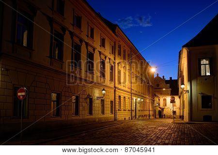 Zagreb Upper Town Cobblestone Street At Dusk