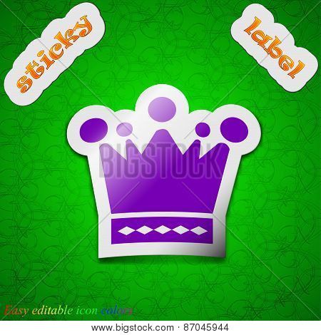 Crown Icon Sign. Symbol Chic Colored Sticky Label On Green Background. Vector