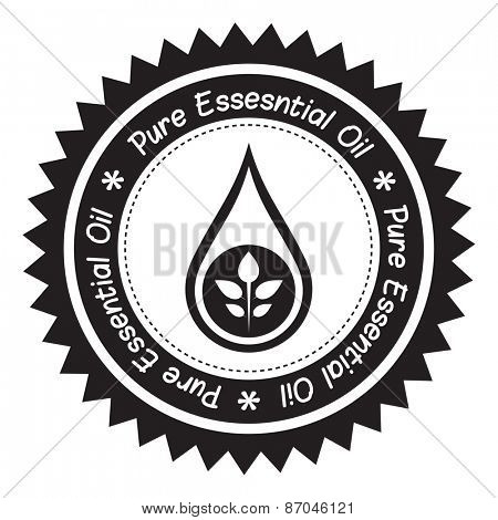Pure essential oil product label (Black and White).
