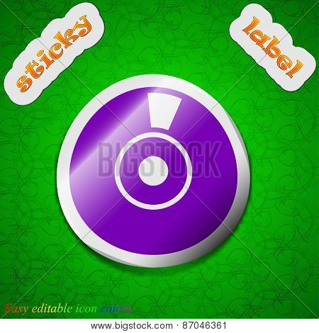 Cd Or Dvd Icon Sign. Symbol Chic Colored Sticky Label On Green Background. Vector
