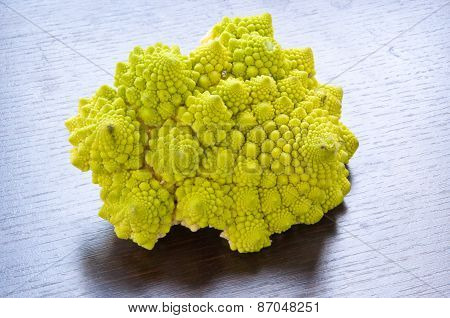 isolated green cauliflower Roman typical of the Italian countryside