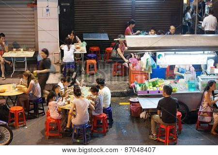 Street food stalls in Georgetown, Penang