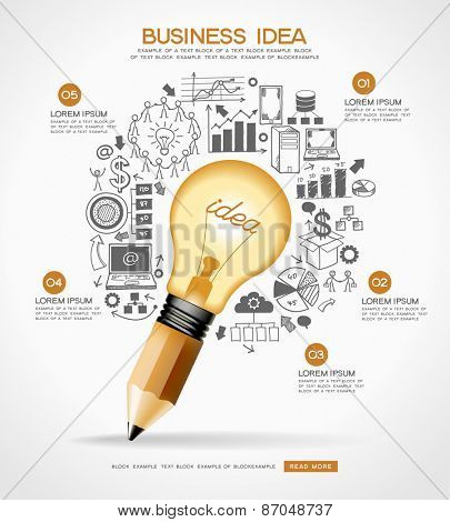 Business doodles icons set. Concept of productive business ideas. Lightbulb with business icon and pencil. File is saved in AI10 EPS version. This illustration contains a transparency