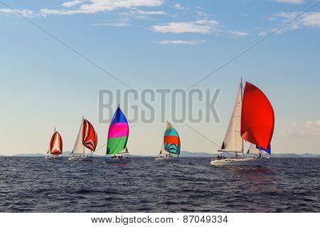 colorful sails under a blue sky