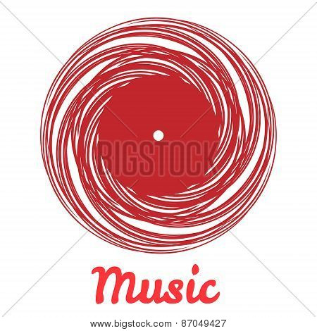 Stylized monochrome music vinyl record logo