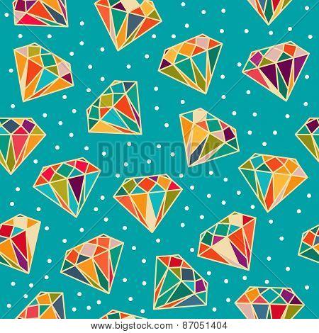 Blue Seamless Pattern With Diamonds