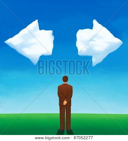 Back View Of A Man Looking At Two Clouds Arrow-shaped