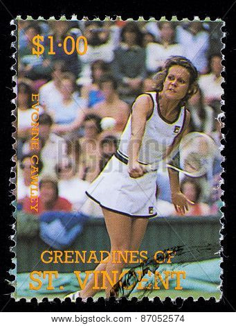 BEQUIA - CIRCA 1988: A stamp printed in Grenadines of St. Vincent shows Tennis Players Evonne Cawley, circa 1988