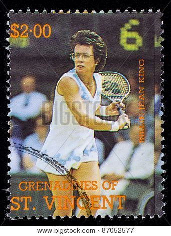 BEQUIA - CIRCA 1988: A stamp printed in Grenadines of St. Vincent shows Tennis Players Billie Jean King, circa 1988