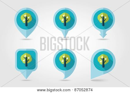 Fruit tree flat mapping pin icon with long shadow