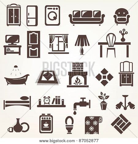 Big Set Of Furniture And Home Related Silhouettes And Icons
