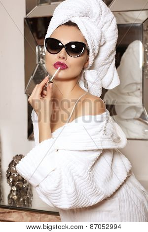 Beautiful Sensual Woman In Bath Robe And Towel, In Sunglasses,