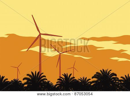 Wind Turbines And Orange Sky