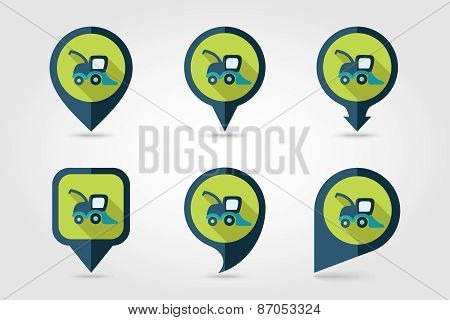 Combine harvester flat mapping pin icon with long shadow