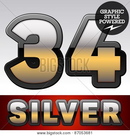 Vector set of gradient silver font with black border. Numbers 3 4