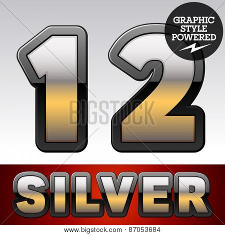 Vector set of gradient silver font with black border. Numbers 1 2