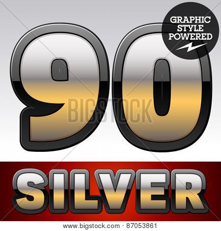 Vector set of gradient silver font with black border. Numbers 9 0