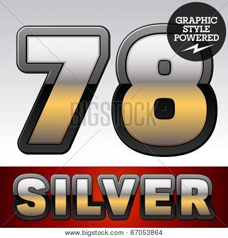 Vector set of gradient silver font with black border. Numbers 7 8