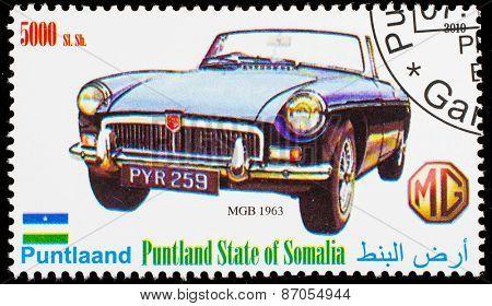 SOMALIA - CIRCA 2010: Postage stamp printed in Somali republic shows retro car,  MGB 1963,circa 2010.