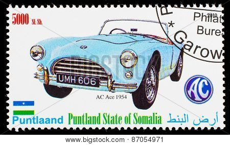 SOMALIA - CIRCA 2010: Postage stamp printed in Somali republic shows retro car, AC Ace 1954,circa 2010.