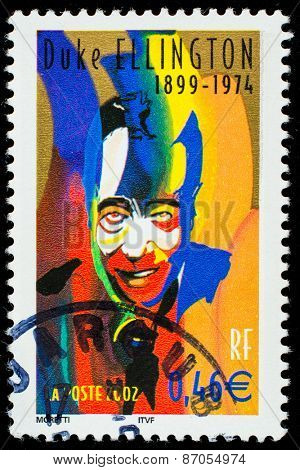 FRANCE - CIRCA 2002: a stamp printed in the France shows Duke Ellington, American Jazz Musician, circa 2002